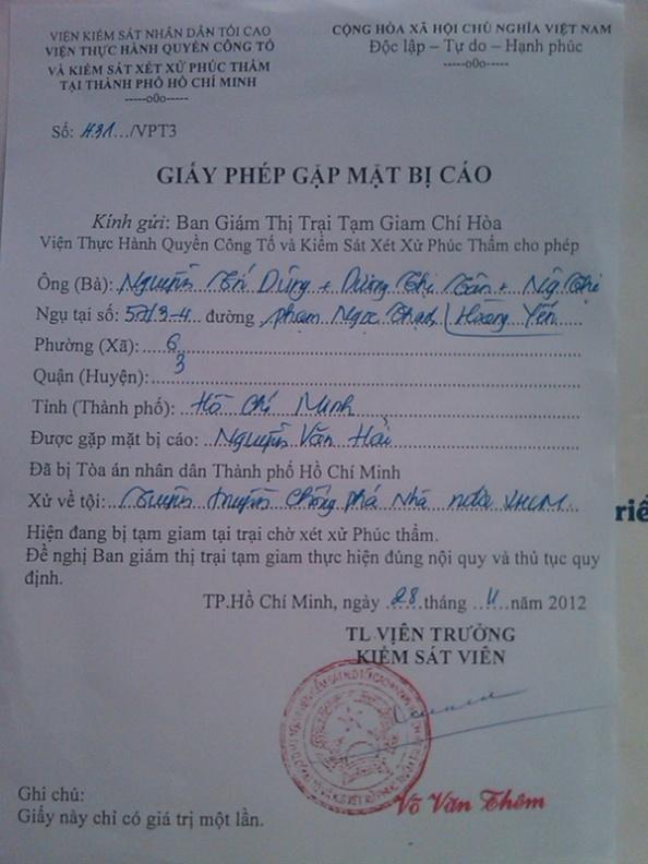 Giấy phép gặp mặt ký ngày 28/11/2012