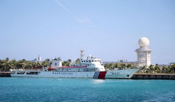 Tàu Hải Tuần 21 của Trung Quốc tại đảo Phú Lâm (Việt Nam). Ảnh: People's Daily