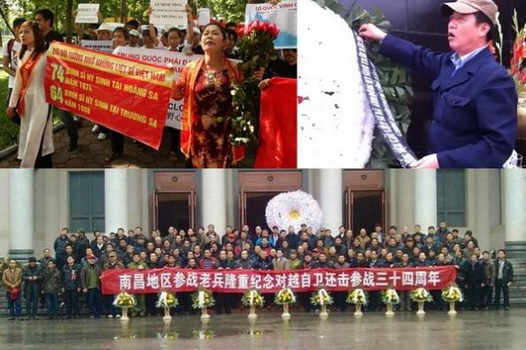 ĐCSVN cấm triệt để người Việt không được biểu tình chống TQ xâm lược biển đảo của VN, cũng như không cho phép họ được truy niệm những chiến sĩ đã vị quốc vong thân chống lại kẻ thù truyền kiếp của VN: thực dân Hán; trong khi TQ cho phép cựu chiến binh và thân nhân long trọng tưởng niệm những binh lính TQ đã chết khi xâm lược VN.