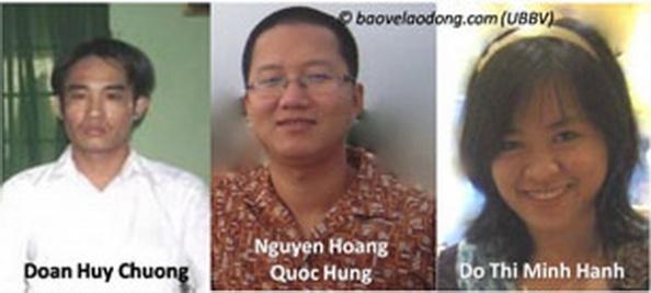 Từ trái qua: Anh Đoàn Huy Chương, anh Nguyễn Hoàng Quốc Hùng và chị Đỗ Thị Minh Hạnh Photo courtesy of baovelaodong.com