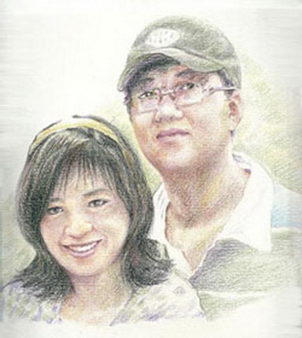 Bức tranh chân dung Đỗ Thị Minh Hạnh và Nguyễn Hoàng Quốc Hùng của Họa sĩ Trần Lân. Courtesy Họa sĩ Trần Lân.