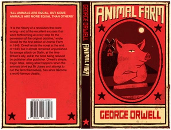 Cuốn Animal Farm của George Orwell, bản tiếng Anh. Courtesy paulthurlby/illustration.
