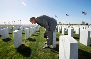 John Baca stumbles upon a marble tombstone of a solider who was born in the same year as his mom and died on Baca's birthday.