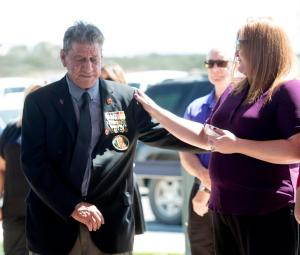 Ret. Major William Mimiaga, left, is consoled during a funeral for a friend and Army Sgt. Mike Murray at Miramar National Cemetery. ///ADDITIONAL INFORMATION: david.vietnamvets.0425.cy  Ð  04/16/15 Ð CINDY YAMANAKA, ORANGE COUNTY REGISTER  - B64538605Z.1 Medal of Honor recipient John Baca, he doesn't trust the media but loves David. He and his good friend William (Bill) Mimiaga, 949-233-6036 will be at a service for Mike Mercy sp? at Miramar National Cemeterery.Service starts at 10 am. Bill is Baca's