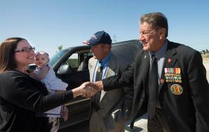 Melissa Murray holds niece Olivia Gievelman,1, as they are greeted by Ret. Major William Mimiaga, during a funeral Murray's father-in-law at Miramar National Cemetery.  ///ADDITIONAL INFORMATION: david.vietnamvets.0425.cy  Ð  04/16/15 Ð CINDY YAMANAKA, ORANGE COUNTY REGISTER  - B64538605Z.1 Medal of Honor recipient John Baca, he doesn't trust the media but loves David. He and his good friend William (Bill) Mimiaga, 949-233-6036 will be at a service for Mike Mercy sp? at Miramar National Cemeterery.Service starts at 10 am. Bill is Baca's